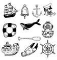 set of hand drawn nautical elements design vector image