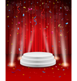 Stage background with confetti and light vector image