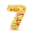 a set of emoticons shaped as seven number vector image vector image