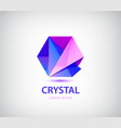 abstract crystal origami logo facet 3d vector image