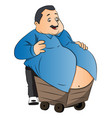 an obese man with stomach on wheelcart vector image