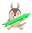 armadillo with arrow sign on white background vector image vector image