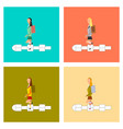 assembly flat icons school girl hopscotch vector image