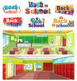 back to school logo design classroom interior vector image vector image