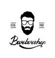 barber shop logo or label portrait of man with vector image