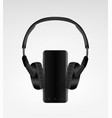 black modern wireless headphones and vector image