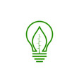 bulb idea and green leaf logo design vector image