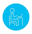 Businessman working at his laptop line icon vector image