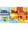 Cartoon set of apartment and restaurant background vector image