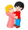 cartoon young boy and girl dancing vector image vector image