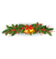 christmas holly spruce tree garland vector image