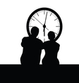 couple front the clock vector image vector image