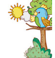 cute animals parrot in branch tree sun cartoon vector image vector image