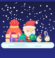 decorated christmas new year card cute santa and vector image