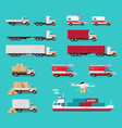 delivery transportation cargo vehicles set or vector image