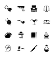 Detective Icons and Symbols Isolated Silhouette vector image vector image