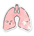 distressed sticker a cartoon lungs vector image vector image