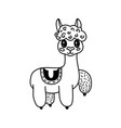 doodle llama character vector image vector image