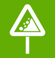 falling rocks warning traffic sign icon green vector image vector image