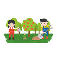 farmer or gardener planting flower in flat design vector image