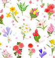 finely seamless texture with different bouquet of vector image vector image