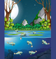 fish in river at night scene vector image