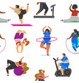 fitness girls plus size seamless pattern health vector image