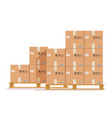 flat boxes pallet cardboard box cargo wood vector image