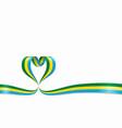 gabon flag heart-shaped ribbon vector image vector image