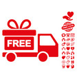 gift delivery icon with dating bonus vector image vector image