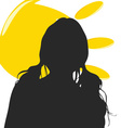 girl silhouette with sun vector image vector image