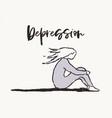girl sitting embracing her knees depression vector image