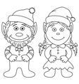 Gnomes boy and girl outline vector image