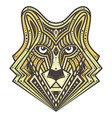 golden alfa wolf detailed vector image vector image