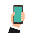 hand with smartphone device isolated icon vector image
