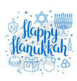 happy hanukkah celebration card with holiday vector image vector image