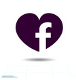 heart black icon love symbol social facebook vector image vector image