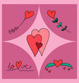 hearts different shapes vector image vector image