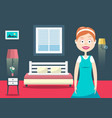 household woman in hotel room flat design vector image vector image