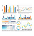 infographic schemes and pie diagrams with numbers vector image vector image