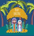 joseph and mary hut palms manger nativity merry vector image vector image