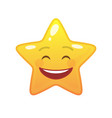 laughing star shaped comic emoticon vector image vector image