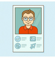 man profile - resume business card with portrait vector image vector image