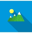 Mountain icon in flat style vector image vector image