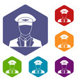 pilot icons set vector image vector image