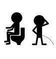 pissing pooping boy set man gender icon set vector image