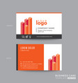 red orange business card design with isometric vector image