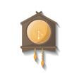 retro wooden wall clock icon vector image