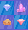 set of crystals and minerals of different shapes vector image vector image