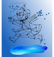Sketch Boy under rain spring jump in the puddles vector image vector image